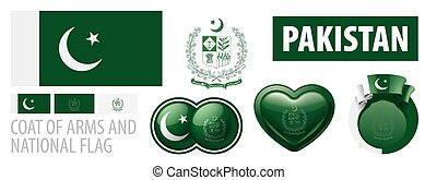 Vector set of the coat of arms and national flag of Pakistan