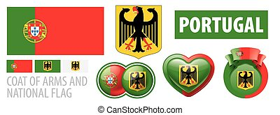 Vector set of the coat of arms and national flag of Portugal