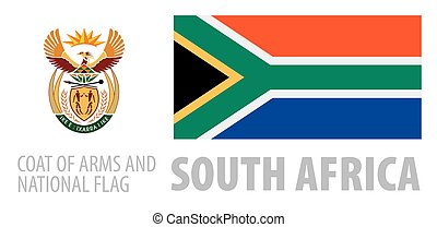 Vector set of the coat of arms and national flag of South Africa