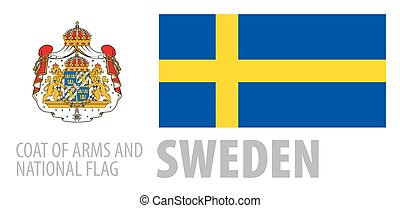 Vector set of the coat of arms and national flag of Sweden