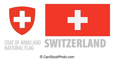 Vector set of the coat of arms and national flag of Switzerland