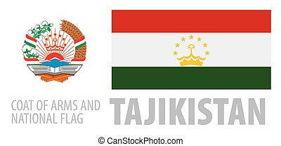 Vector set of the coat of arms and national flag of Tajikistan