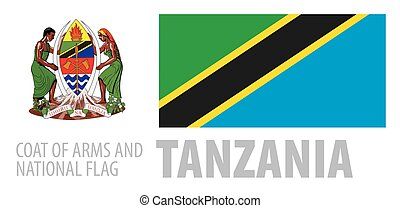 Vector set of the coat of arms and national flag of Tanzania