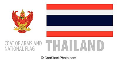 Vector set of the coat of arms and national flag of Thailand