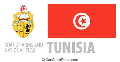 Vector set of the coat of arms and national flag of Tunisia