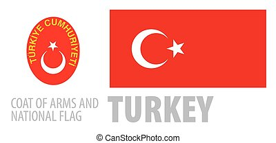 Vector set of the coat of arms and national flag of Turkey