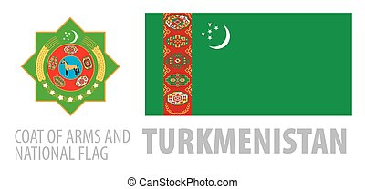 Vector set of the coat of arms and national flag of Turkmenistan