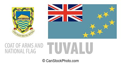 Vector set of the coat of arms and national flag of Tuvalu