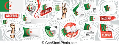 Vector set of the national flag of Algeria in various creative designs