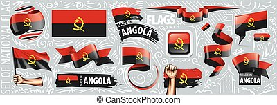 Vector set of the national flag of Angola in various creative designs