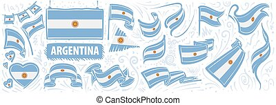 Vector set of the national flag of Argentina in various creative designs