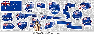 Vector set of the national flag of Australia in various creative designs