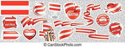 Vector set of the national flag of Austria in various creative designs