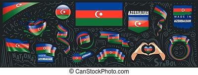 Vector set of the national flag of Azerbaijan in various creative designs