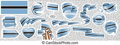 Vector set of the national flag of Botswana in various creative designs