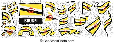 Vector set of the national flag of Brunei in various creative designs