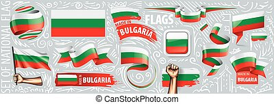 Vector set of the national flag of Bulgaria in various creative designs