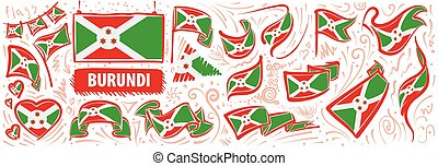Vector set of the national flag of Burundi in various creative designs