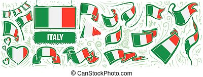Vector set of the national flag of Italy in various creative designs
