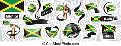 Vector set of the national flag of Jamaica in various creative designs