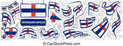 Vector set of the national flag of Netherlands Antilles
