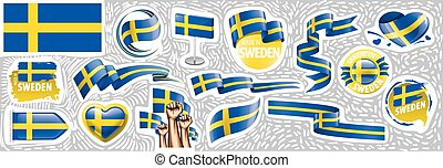 Vector set of the national flag of Sweden in various creative designs