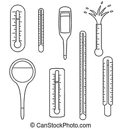 vector set of thermometer