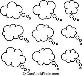 vector set of thought thin line bubbles isolated on white background. space for thinking or speech text. think or communication cloud symbol. people dialog bubble icon