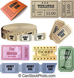 Vector set of tickets and coupons isolated on white background.