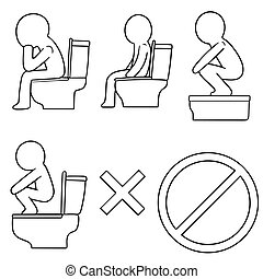 vector set of toilet icon
