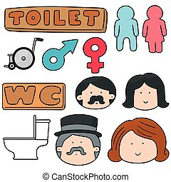 vector set of toilet sign