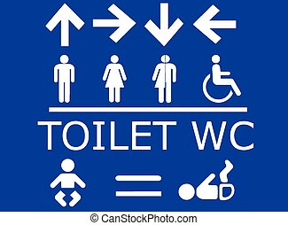 Vector set of toilet signs in white