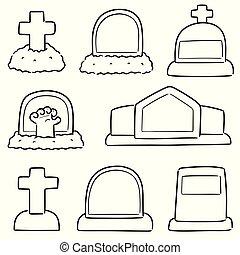 vector set of tombstone