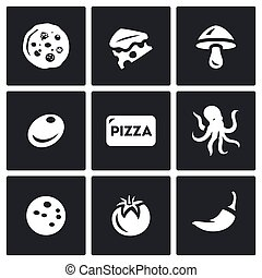 Vector Set of Toppings Pizza Icons. Cheese, Mushroom, Olive, Seafood, Ham, Vegetable, Spice.