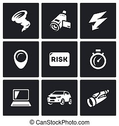 Vector Set of Tornado Icons. Vortex, Video camera,...