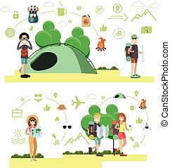 Vector set of tourist people, symbols in flat style