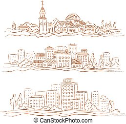 Vector set of towns