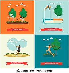 Vector set of track and field athletics, flat design -...