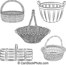 baskets - Vector set of traditional baskets in line art mode
