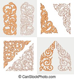 vector set of traditional Thai ornaments on white background