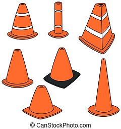 vector set of traffic cone