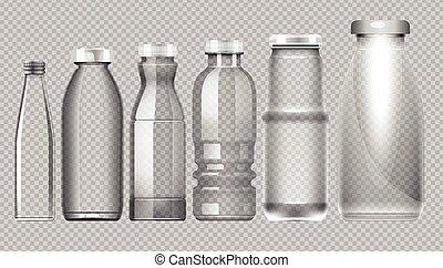 Vector set of transparent glass jar bottle