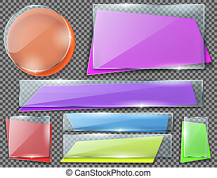 Vector set of transparent glass plates or banners