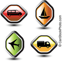 Vector set of transport pointers - car, ship, plane