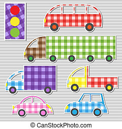 Vector set of transport textile stickers