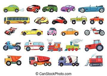 Vector set of transport vehicles illustrations. - Set of...