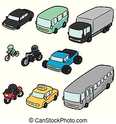 vector set of transportation and vehicle