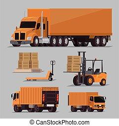 Vector set of transportation cargo vehicles