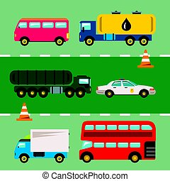 Vector Set of Transportation. Flat style colorful Cartoon illustration.