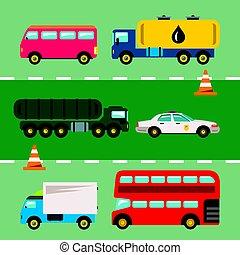 Vector Set of Transportation. Flat style colorful Cartoon illustration.